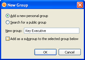 To add a new group Click on New Group Then Select