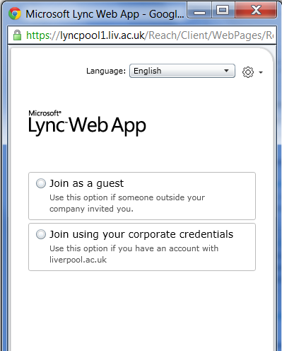 To join a meeting using Lync 2010 Attendee. 1. Click the Join online meeting link in a meeting invitation sent from Lync 2010. 2. A screen with instructions for selecting a client to install is displayed.