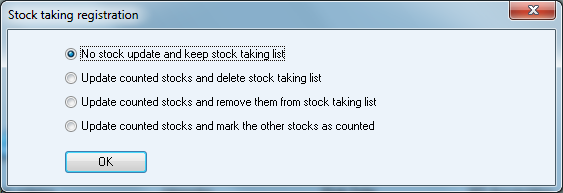 When you have finished, click OK and close the list. You will then get a window with four alternatives for updating of the stock.
