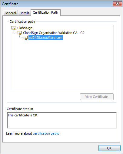 Actual content of the certificate can be viewed by clicking on the Details tab: The Certification path shows which Trusted Root Certificate belonging to which Certificate Authority has been used to