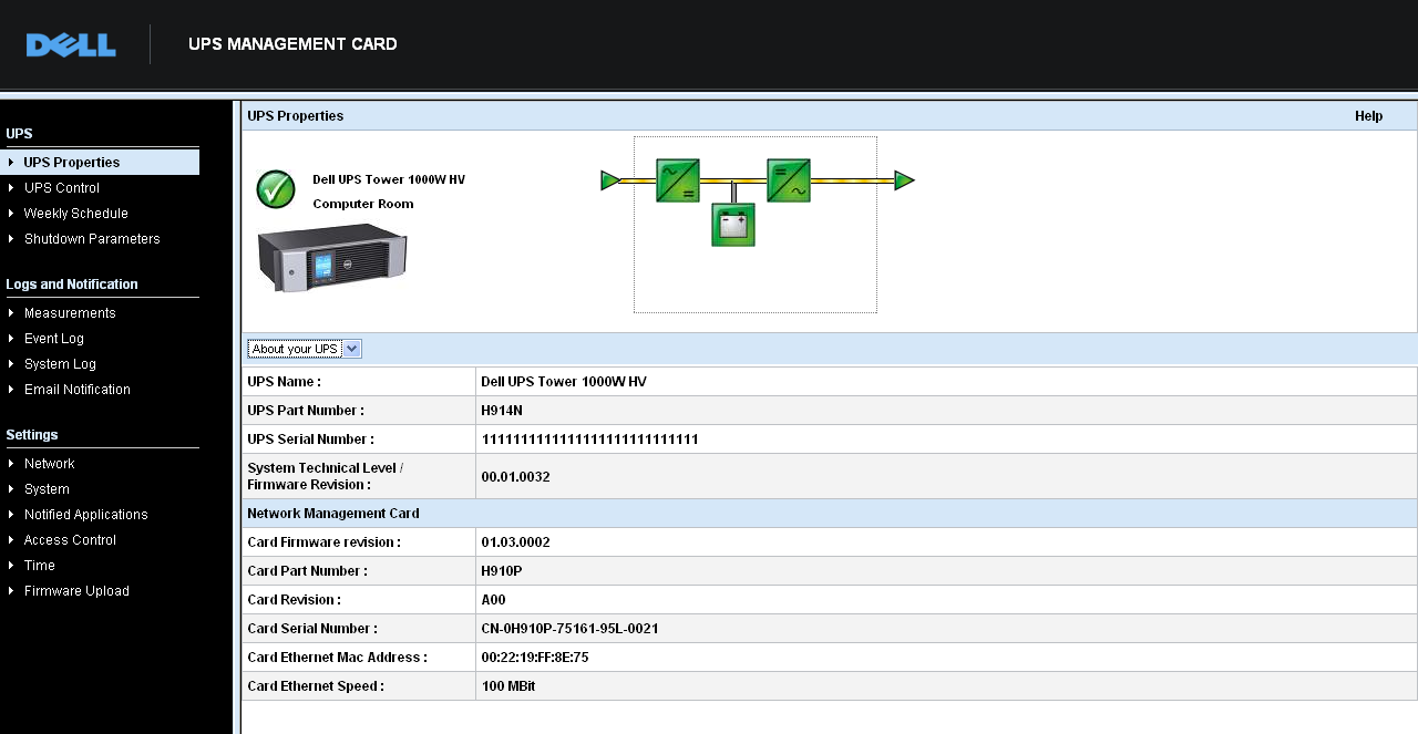View UPS and Card Information Select About Your UPS from the UPS Status list to display information