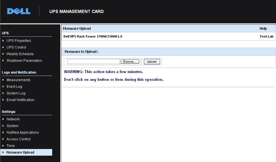 Upgrading the Card's Firmware You can update the card s firmware by downloading the appropriate file. During the upgrade process, the Dell Network Management Card does not monitor the UPS status.