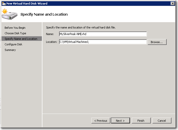 l. Verify that Virtual Hard Drive is selected, make no changes, and click New. The Choose Disk Type window appears. m. Select Fixed Size, and click Next.
