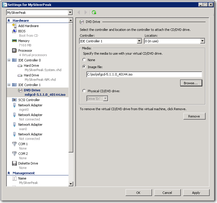 Now, we need to insert the ISO file into the virtual machine s virtual DVD. s. From the left panel, click DVD Drive. t. In the DVD Drive section on the right, click Image file and browse to the image file you previously downloaded from Silver Peak s support site.