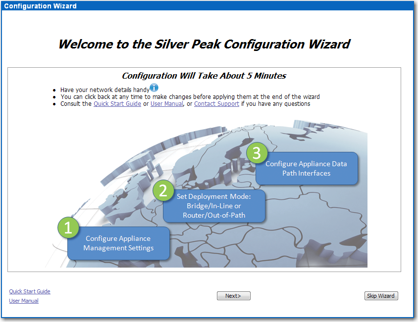 6 Run the Appliance Manager initial configuration wizard a. In a browser, enter the mgmt0 IP address you just discovered or configured. The Silver Peak Appliance Management Console login page appears.
