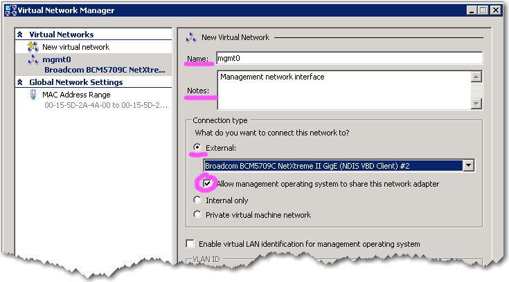 b. Select External, and click Add. The New Virtual Network screen appears on the right. It defaults to an external interface, which also displays in the left column. c. In the Name field, enter mgmt0.