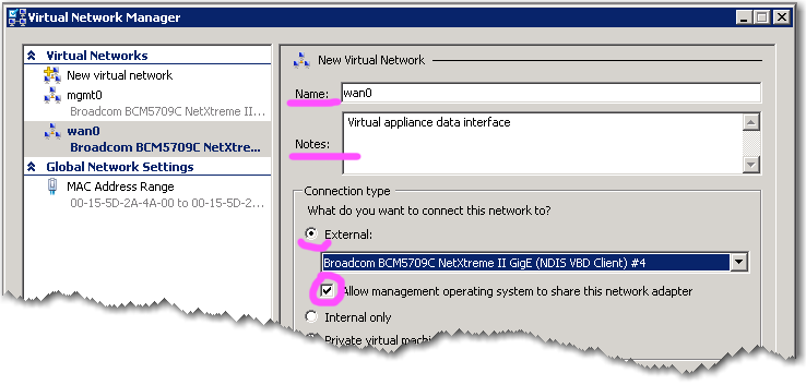 VXOA Virtual Appliance / Microsoft Hyper-V Hypervisor / Out-of-Path Deployment [Router Mode] Now you ll repeat the procedure for the optimization network, wan0. g.