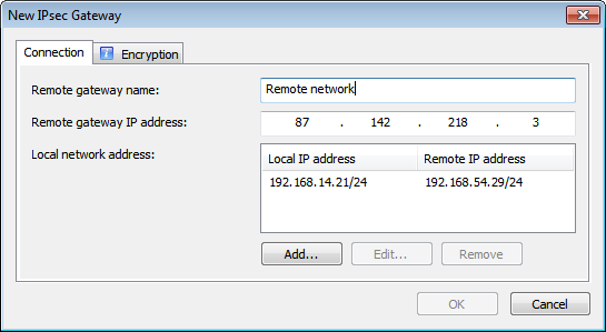 Figure 24. Adding an IPsec channel to another network 4 To configure a new IPsec connection to a remote network, click Add. The IPsec Gateway New window will be displayed.