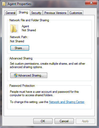 2 Centrally Installing CTERA Agent via Active Directory The Sharing tab appears. e Click Share. The File Sharing dialog box appears.