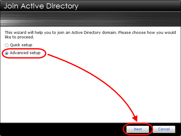 2.2 Connecting the NAS to the AD domain STEP 1 In ADM select [Services] [Windows]. And then under the Active Directory tab click on [Join Domain].