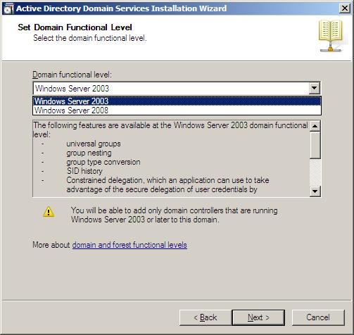 In the previous step, If you have selected any Forest Functional Level other than Windows Server 2008 and clicked on Next, you would then get a page to select Functional Level.