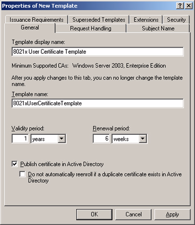 ! Create certificate template for 802.1x users 1. In the details pane of the Certificate Templates snap-in, click the User template. 2. On the Action menu, click Duplicate Template.