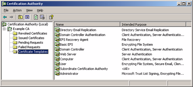 ! Enable certificate template 1. Open the Certification Authority snap-in (from administrative tools). 2. In the console tree, expand Example CA, and then click Certificate Templates.
