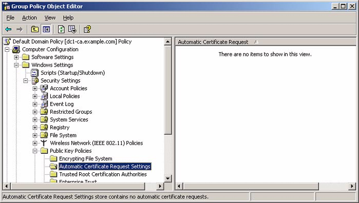 9. In the console tree, expand Computer Configuration, Windows Settings, Security Settings, and Public Key Policies, and then click Automatic Certificate Request Settings.