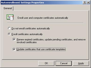 Select the Renew expired certificates, update pending certificates, and remove revoked certificates check box.