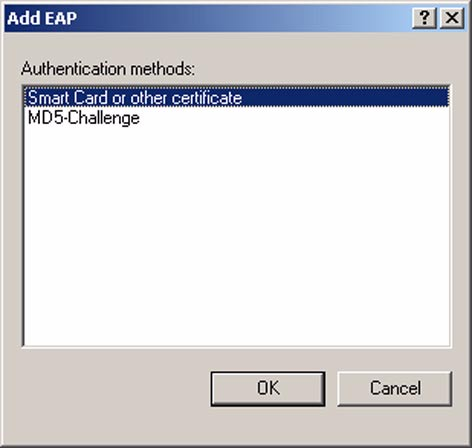 6. Click Add. The Add EAP dialog box is displayed. This is shown in the following figure. 7. Click Smart Card or other certificate, and then click OK.