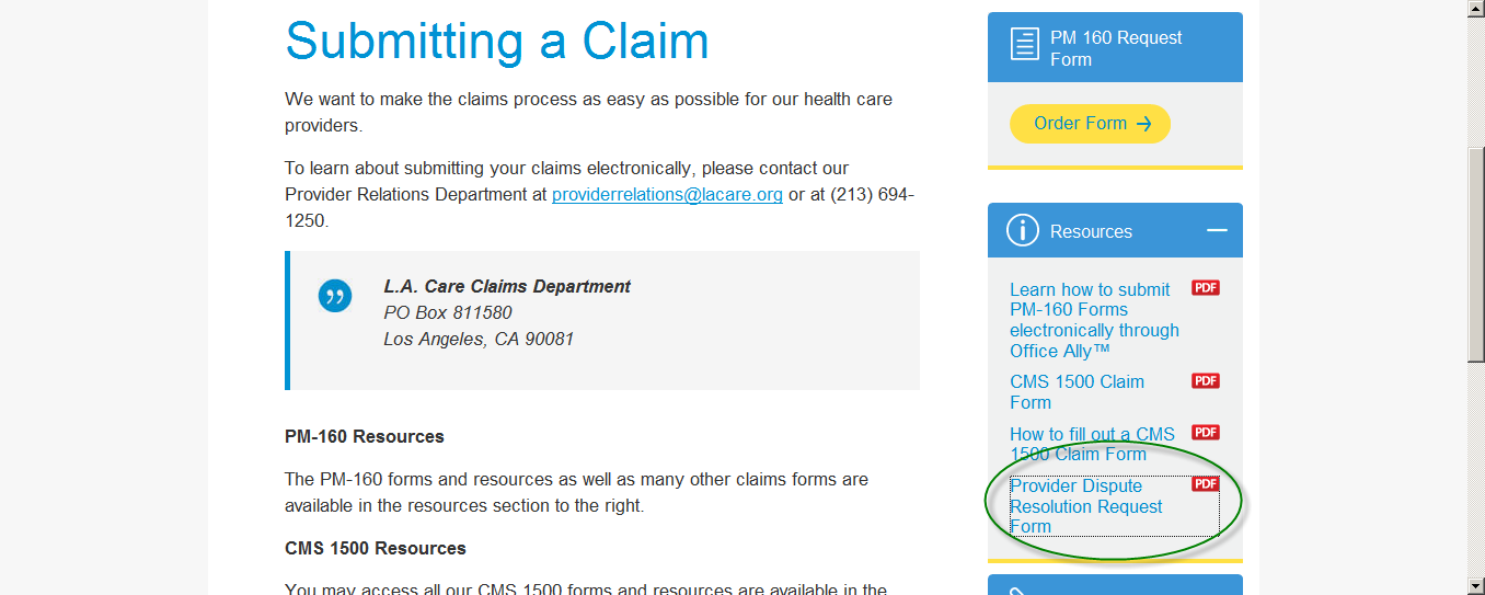 Mail Or Fax The PDR To: L.A. Care Health Plan Attn: L.A. Care S