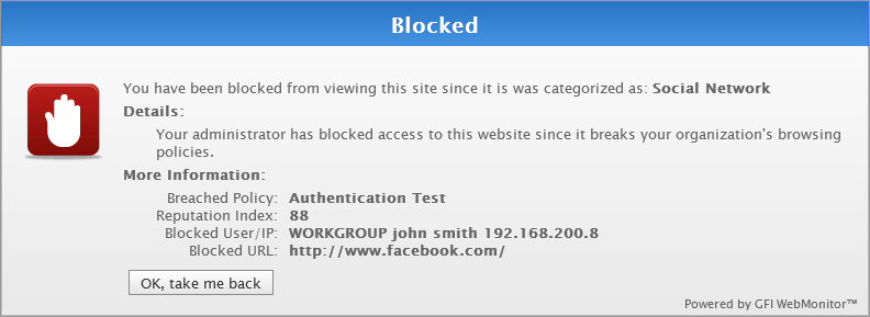 7. Go back to your browser and open http://www.facebook.com. The GFI WebMonitor blocking page should now be displayed.