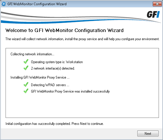 11. After the installation, GFI WebMonitor Configuration Wizard is launched automatically. This will help you configure the server in simple proxy mode.