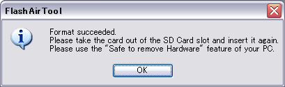 While the window below is displayed, the Product is being reset to the factory default. After formatting is completed, the window below will be displayed.