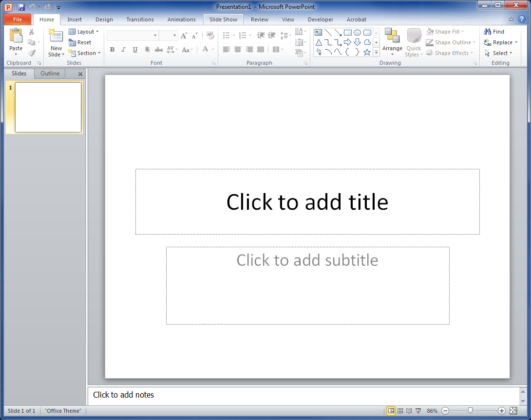 Starting PowerPoint Double click the PowerPoint Icon on