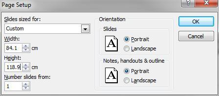 To change the size and orientation Click the Design tab on the ribbon Click Page Setup A dialog box will appear: In the Slides sized for: drop down menu, select Custom Type 84.