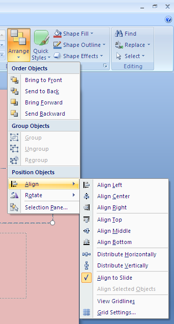 Initial Preparation Figure 5 Grid Settings Click on Arrange Click on Align Click on Grid Settings In the Grid and Guides dialog box (see Figure 6 below): if the box to the left of Snap objects to