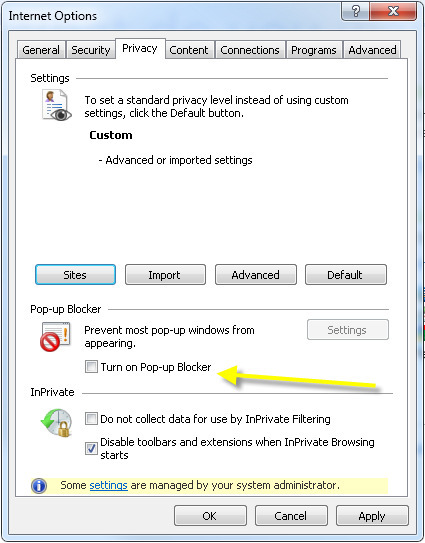 Turn off Pop Up blockers by unchecking the Pop Up Blocker option or add *.ultimatesoftware.