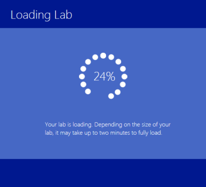 2. While your lab loads, you will see a spinner with tips and tricks for the lab hosting system. Note: It typically takes between 30 and 90 seconds for a lab to load.