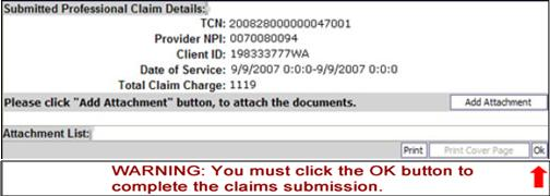 After entering all the claim information, click on Submit Claim button at the top of the screen.