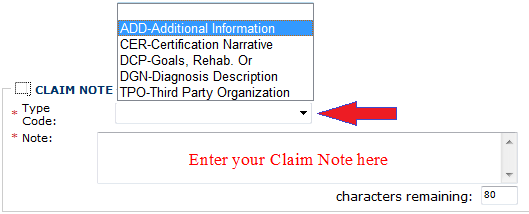 a blank claim screen ready to enter another claim.