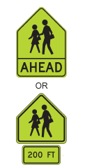 CA CG Guidelines Page #17 Examples of School Warning Signs As described in CAMUTCD, crosswalk markings near schools shall be yellow and school