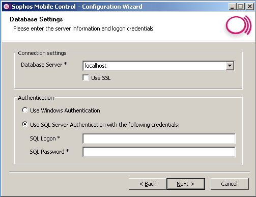 Sophos Mobile Control Click Next to specify server information and logon credentials in the Database Settings dialog.