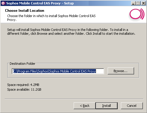 Sophos Mobile Control The external EAS Proxy can run on different (virtual and physical) machines. Simple Windows setup 4.