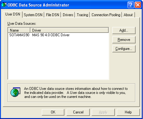 ...... Chapter 8 Configuring the Client/Server ODBC Driver d On the User DSN tab, double-click the SOTAMAS90 item.