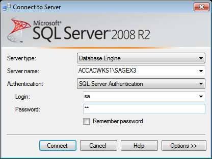 2. The Connect to Server screen will appear. Enter the SQL Server login details and click the Connect button.