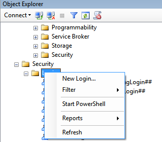 Password: your password 3. The Object Explorer screen will open. Expand the Security and Login folders.
