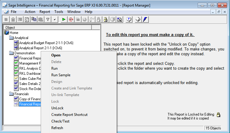 Running Reports 1. Double click on each of the folders to reveal the reports within each folder.