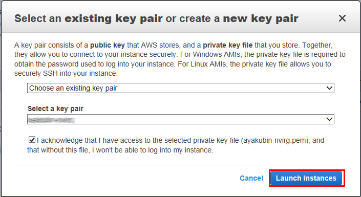 8. In the Select an existing key pair or create a new key pair dialog box, select Choose an existing key pair, and then select the prepared key pair. 9.