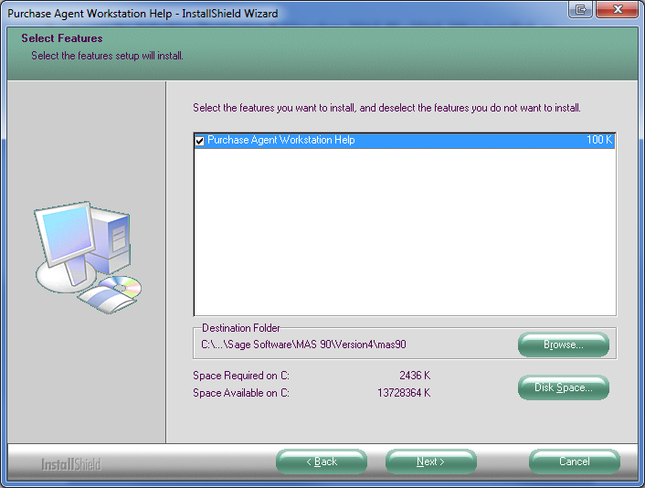 3. Accept the defaulting Destination Folder where Sage 100 is installed, or select the Browse button