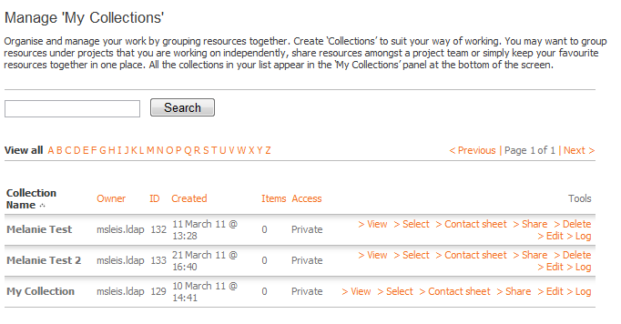 Creating a Collection 1. Click Manage My Collections 2. Under Create New Collection, enter a Collection Name and click Create: 3. Enter the information about your collection including the Access.