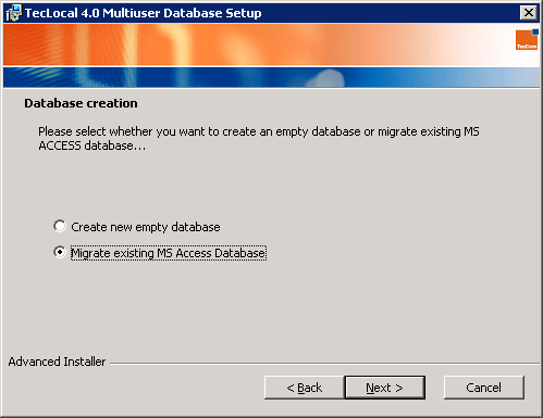 3 TecLocal 4.0 MultiUser Database Installation If the database name is already taken, click on OK to close the following warning: Select Migrate existing MS Access Database, and click Next.