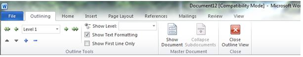 Inserting a Table of Contents [For MS Word 2010] I. CREATE BOOKMARKS FROM HEADINGS A. Click the View Tab. B. In the Document Views group, click Outline.
