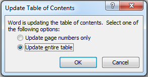Note: If you make changes to your document (e.g., change chapter headings, add/delete a chapter or section, move illustrations) after inserting the Table of Contents, you will need to... III.