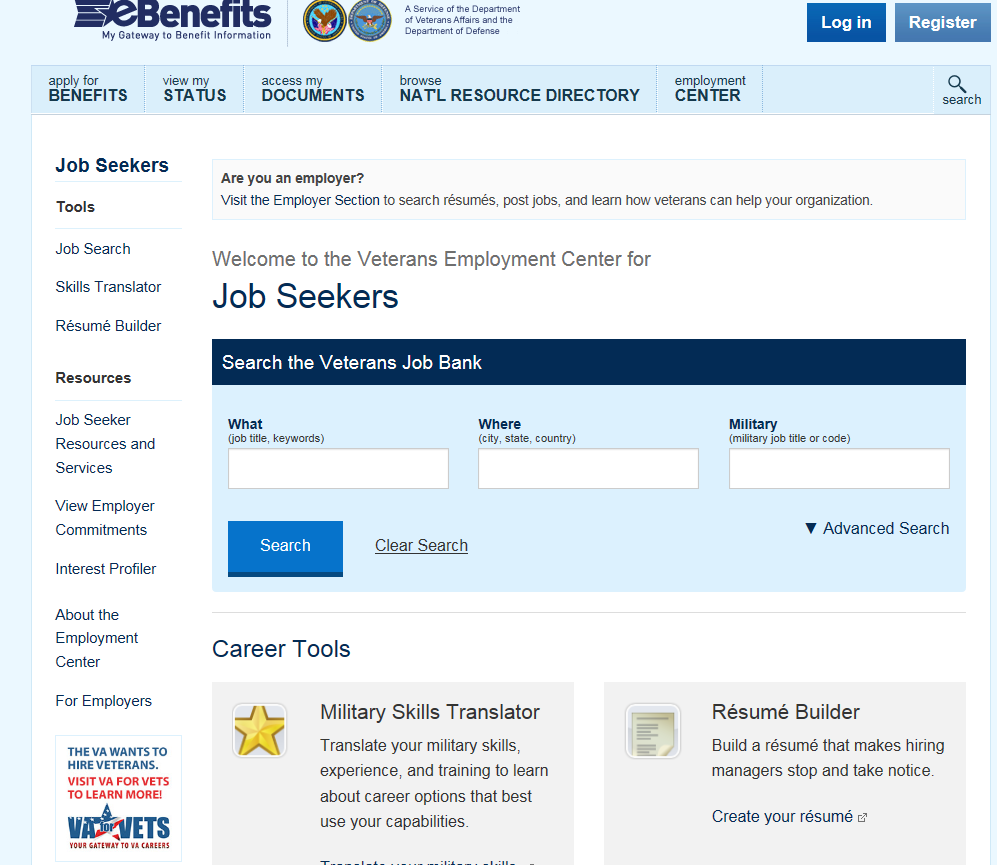 Web Exploration Activity: Veterans Employment Center https://www.ebenefits.va.