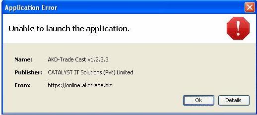 UNABLE TO LAUNCH THE APPLICATION: There are times when after verifying JAVA, the system will give you