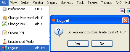 6.3 LOGOUT (Alt+F4) Go to File on the top left side of the screen and click on Logout to close the