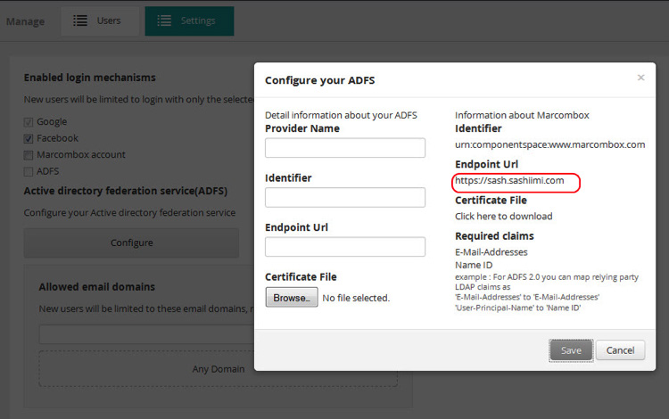 2.7 Go to the ADFS management console -> Browse to specify the Certificate File as the token encryption certificate. Ignore any warnings about the key length.