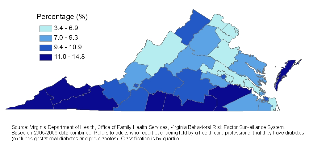 7 Prevalence of diabetes among adults by health district, Virginia, 2005-2009 Prevalence of diabetes by Virginia city and county, 2004-2008 The CDC now provides county-level synthetic estimates of