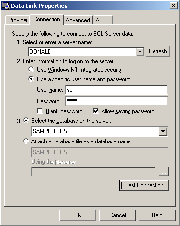 3. In the Data Link Properties window, select Microsoft OLE DB Provider for SQL Server and click NEXT.